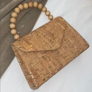 Handbags - Cork handbag with wooden handle